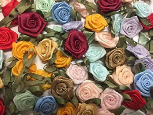 (100 Satin Ribbon Rose Flower 3/4
