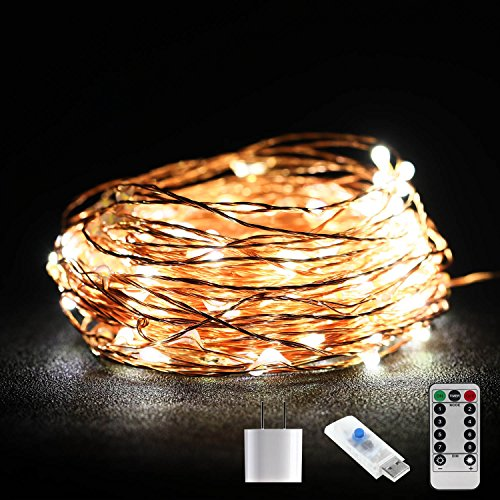 Decorating String Lights, 66 ft 200LEDs Durable String Lights USB Powered With Remote Control + UL-listed Power Adapter Indoor Outdoor Warm White Ambiance Lighting for Bedroom, Wedding Dec and More