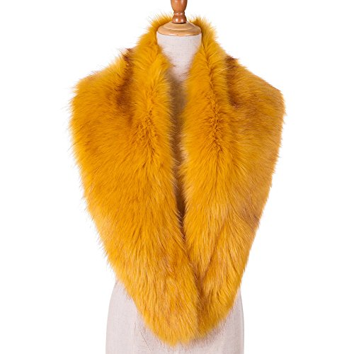 Yetagoo Women Winter Faux Fur Scarf Wrap Collar Shrug for Wedding Evening 1920s Party (Yellow With Apex)