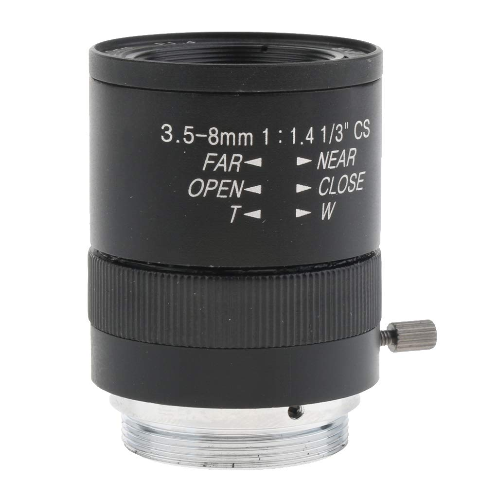 KESOTO 3.5mm-8mm F1.4 3MP Varifocal CCTV Cam/éra Fixe Objectif CS Monture Manuel Objectifs Iris Zoom FOV 78-39 Degr/és M/égapixels