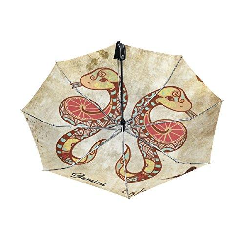 - Franzibla Constellation Zodiac Sign Gemini UPF 50+ Anti-UV Parasol Waterproof Windproof Reverse 3 Folds Auto Open Close Lightweight Umbrella
