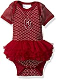 Two Feet Ahead NCAA Oklahoma Sooners Children Girls Pin Dot Tutu Creeper,Nb,Crimson