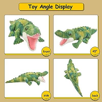 Houwsbaby Plush Alligator Soft Realistic Stuffed Crocodile Lifelike Animal Toy Cuddly Gift for Toddlers Boys Girls Kids Babies, Green, 15'': Toys & Games