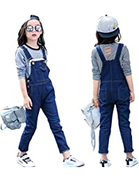 02f013434b9f Kids Girls Adjustable Strap Dark Blue Long Jeans Jumpsuit Suspender Denim  Bib Overalls