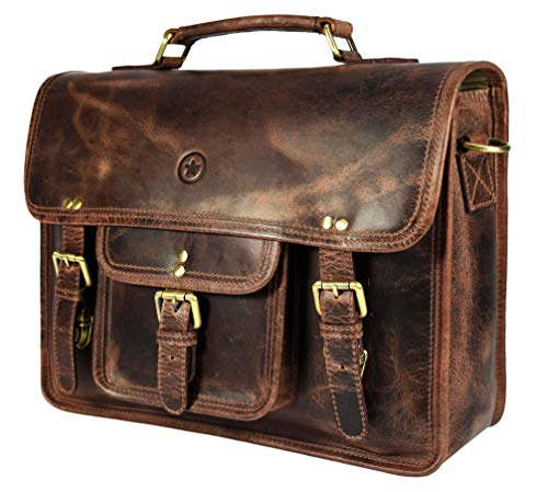 - 15 inch Vintage Leather Messenger Satchel Bag | Briefcase Laptop Messenger Bag by Aaron Leather (Walnut Brown)