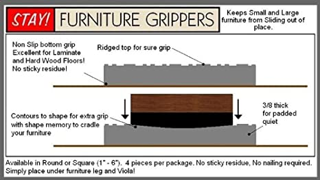 Furniture Grippers. Keep Furniture From Sliding On Hard Surface Floors.  Black SQUARE No Slip Furniture And Floor Protective Pads (3 Inch)   Home  And Garden ...