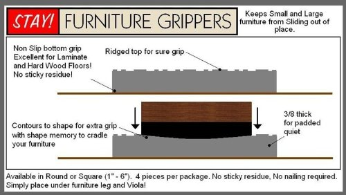Furniture Grippers. Keep Furniture From Sliding On Hard Surface Floors.  Black ROUND No Slip Furniture And Floor Protective Pads (2 Inch)   Home And  Garden ...
