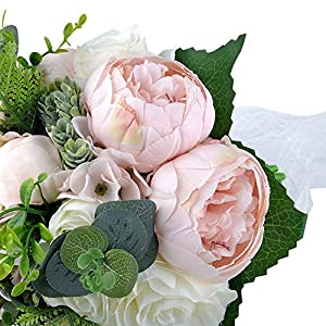 YSUCAU Wedding Bridal Bouquet, 9.8'' Wedding Bride Bouquet, Wedding Holding Bouquet with Artificial Peony and Rose Fiowers, Natural Jute Twine, Crystal for Wedding Church Party and Home Decor 3