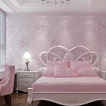 Europischen Stil Wohnzimmer Schlafzimmer Grosse Gartenblumen 3D Vlies Tapete Beauty Salon Lila Rosa Hintergrundbild