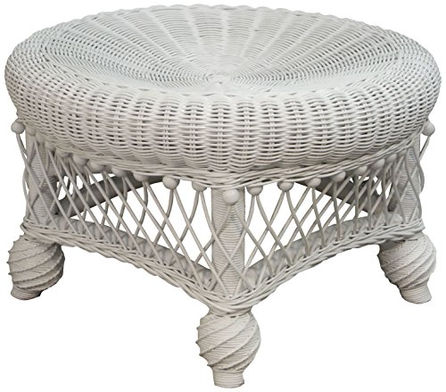 Spice Islands Round Ottoman, White