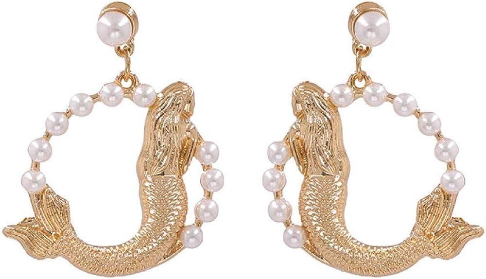 La nueva aleación de perlas con aretes fish jump dragon door significa aretes aretes Kdw