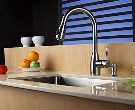 Kraus KPF-2130-SD20 Single Lever Stainless Steel Pull Out Kitchen Faucet and Soap Dispenser: Amazon.es: Bricolaje y herramientas
