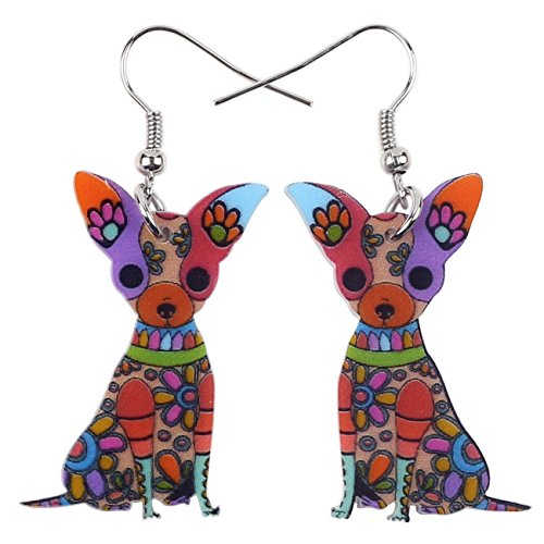 Bonsny Acrylic Drop Chihuahuas Dog Pets Earrings Funny Design Lovely Gift For Girl Women Fashion Jewelry (Multicolor)