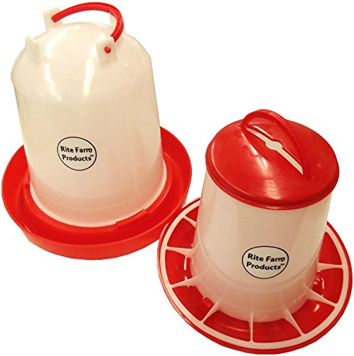 COMBO MEDIUM RITE FARM PRODUCTS 1.6 GAL & 6.6LB WATERER & FEEDER CHICKEN POULTRY