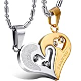 Libaraba Stainless Steel I Love You Romantic Heart Couple Necklace Set,Heart Necklaces Set for Him and Her (Style 2 Silver+Rose Gold)
