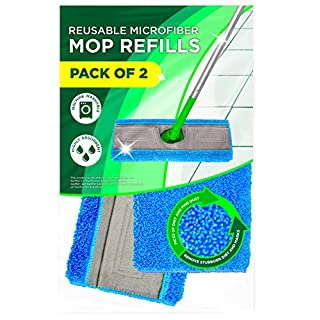 Reusable Mop Pads Fit Swiffer Sweeper - Washable Reusable Microfiber Mop Pads Use as Wet Refills & Dry Refills - 2 Pack