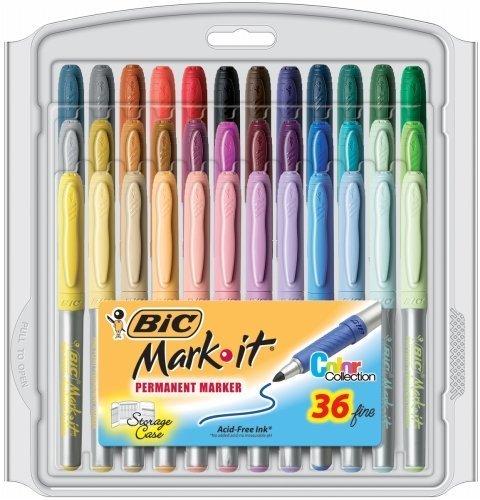 Bic Mark-It Fine Point Permanent Markers 36/Pkg-Assorted Colors