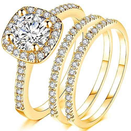 Jude Jewelers Silver Rose Gold Three-in-One Wedding Engagement Bridal Halo Ring Set (Gold, 9)