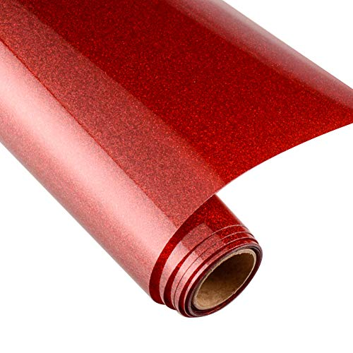 KISSWILL Glitter HTV Iron on Vinyl for T-Shirts, 10Inch by 6Feet Heat Transfer Vinyl Roll for Cricut & Silhouette Cameo and Heat Press - Inch Glitter Red 10