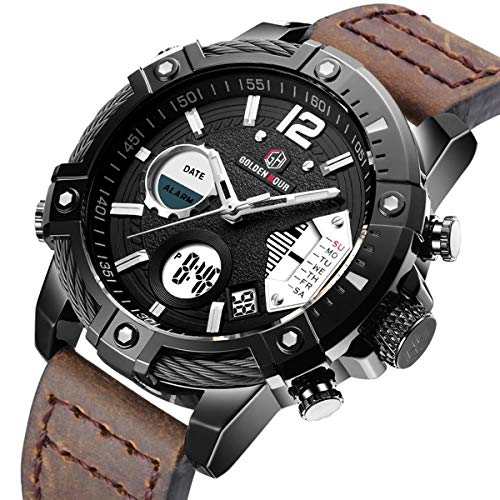Samco Men Digital Sport Watch Large Face Military Quartz Watches and Waterproof Casual Luminous Stopwatch Alarm Leather Strap Outdoor Watch (Black/Brown)