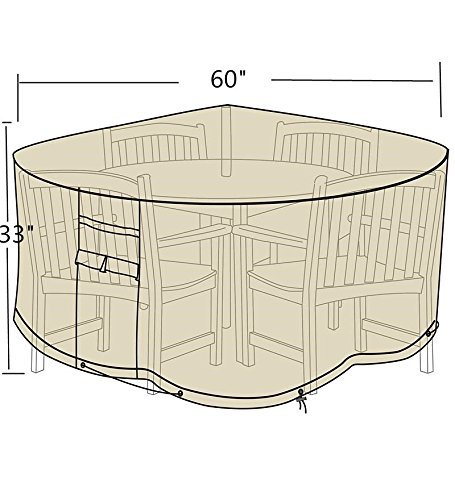 Patio Round Table and Chair Set Outdoor Cover, Water-Resistant, Outdoor All Weather Protection, Beige Color( 60'' Dia.)