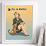Custom Pet Portrait Canvas - Cartoon Drawing of Me And My Dog - Sentimental Surprise Gift
