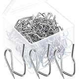 120 Pack Metal Curtain Hooks Pin-On Drapery Hook Pins 1.2 by 1 Inch with Clear Box for Window Curtain, Door Curtain and Shower Curtain