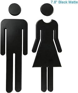 "RJWKAZ 7.8"" Premium Bathroom Sign Acrylic Adhesive Backed Men's and Women's Toilet Sign (Black)"