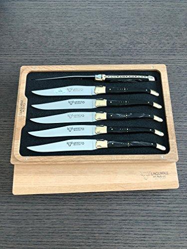 Laguiole en Aubrac Steak Knives Set of 6, Buffalo Horn Handles with Brass Bolsters