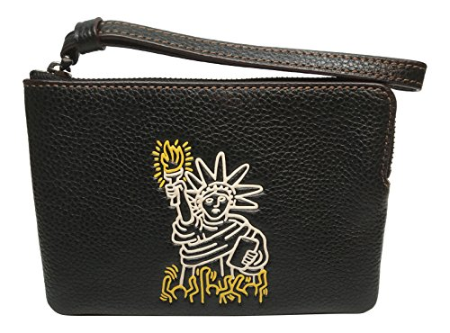 Coach Keith Haring Leather Corner Zip Black - Usa Coach Outlet