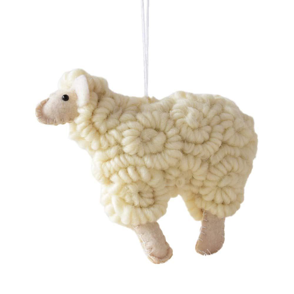 Fashionhe Christmas Tree Pendant Hanging Home Sheep Ornament Christmas Decoration(Beige,S)