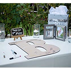 "Wedding Guestbook Wooden Monogram Letter Sign - 22"" Large Wooden Letter for Guestbook Alternative Wedding Party Reception"