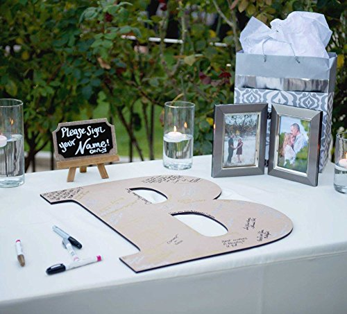 (Wedding Guestbook Wooden Monogram Letter Sign - 22