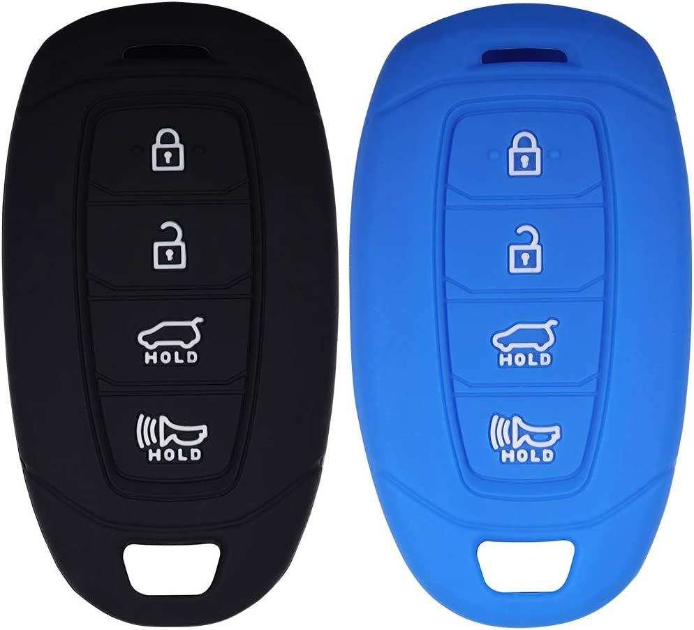 Lcyam Key Fob Cover Silicone Protection Case Remote Holder Fits for 2019 2020 Hyundai Kona Santa Fe Veloster Sonata Keyless Smart Key 4 Button Black Rose
