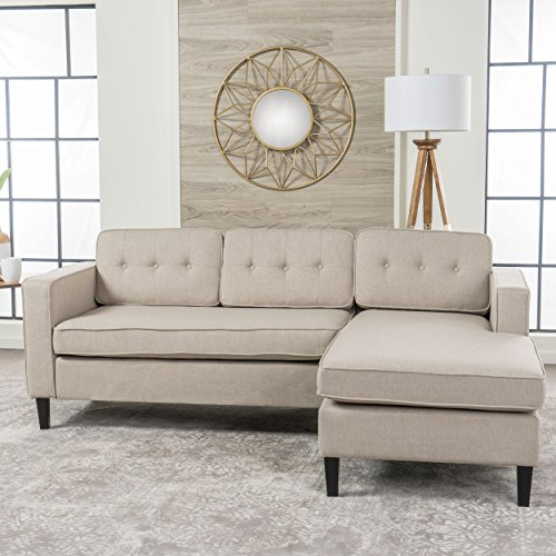Windsor Living Room | 2 Piece Chaise Sectional Sofa | Scandinavian, Mid Century Design | Cream Fabric