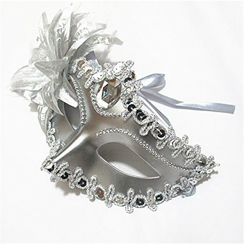 Sweenaly Lily flower Mask Eye Mask Masquerade Mask Costume Mask Perfect for Halloween,Masquerades (silver) -