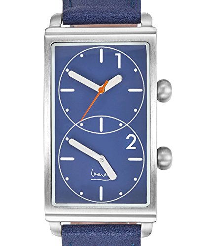 Projects 7612A Men's Grand Tour Dual Time Blue Leather Band Blue Dial Watch