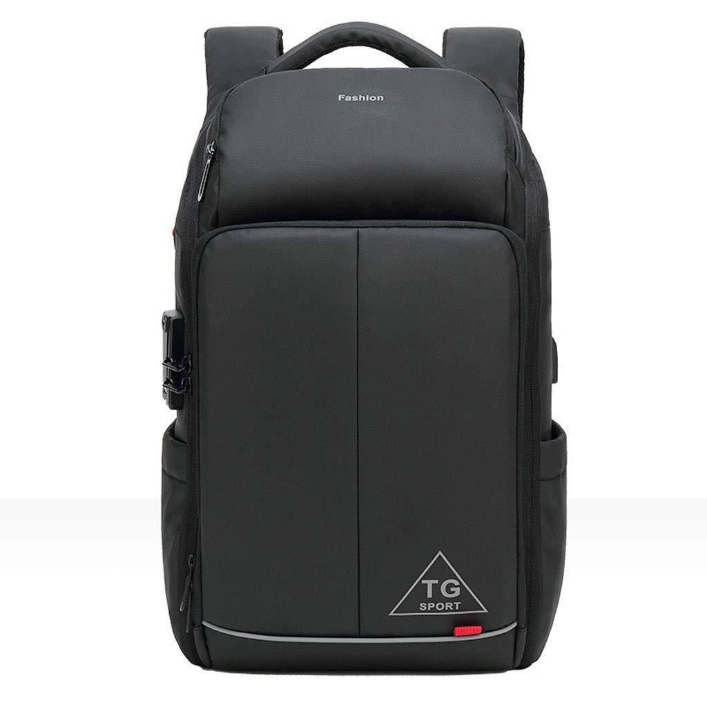 ノートパソコンのバックパック、レジャー旅行バッグ大容量バッグの色を充電するビジネススクールの学生防水バッグ多機能USBとナイロン袋:黒、サイズ:L B07PQRTKVB