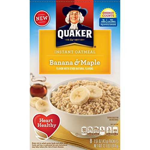 Quaker Instant Oatmeal Breakfast Cereal, Banana and Maple, Eight 1.51 Ounce Packets, Net. Wt. 12.1 Ounce