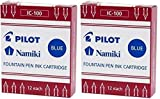 Pilot Namiki IC100 Fountain Pen Ink Cartridge, Blue, 12 Cartridges per Pack (Pack of 2)