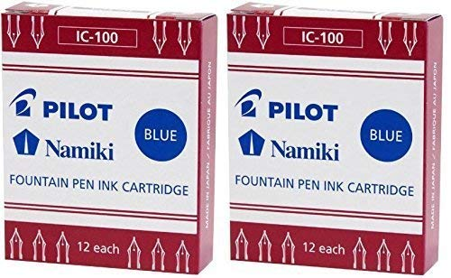 (Pilot Namiki IC100 Fountain Pen Ink Cartridge, Blue, 12 Cartridges per Pack (Pack of 2))