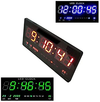 Takestop® Reloj digital de pared pared LED azul rojo verde Fecha Temperatura Tabella Data Calendario: Amazon.es: Electrónica