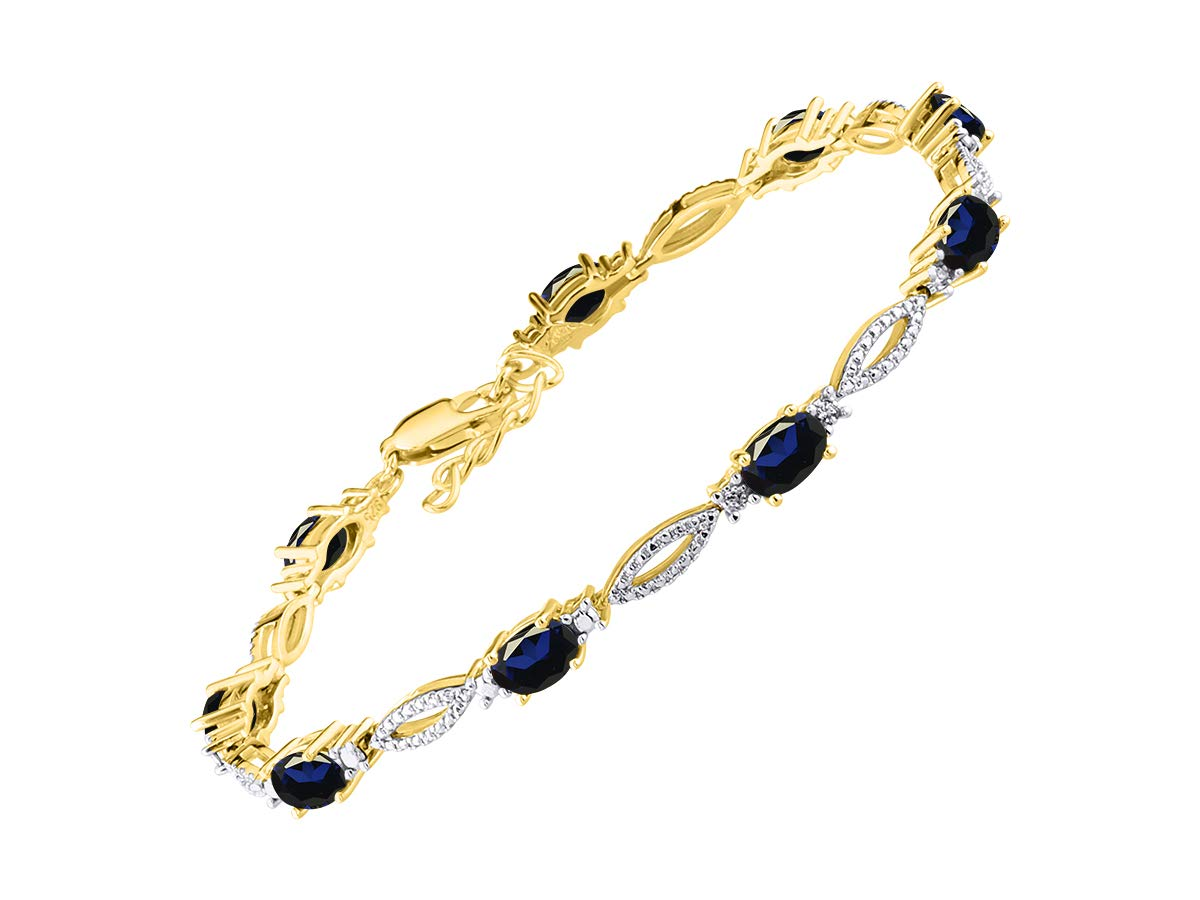 Stunning Blue Sapphire & Diamond Tennis Bracelet Set in Yellow Gold Plated Silver - Adjustable to fit 7'' - 8'' Wrist