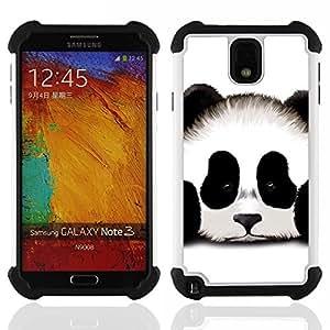 /Skull Market/ - Panda Cute Face For Samsung Galaxy Note3 N9000 N9008V N9009 - 3in1 h????brido prueba de choques de impacto resistente goma Combo pesada cubierta de la caja protec -