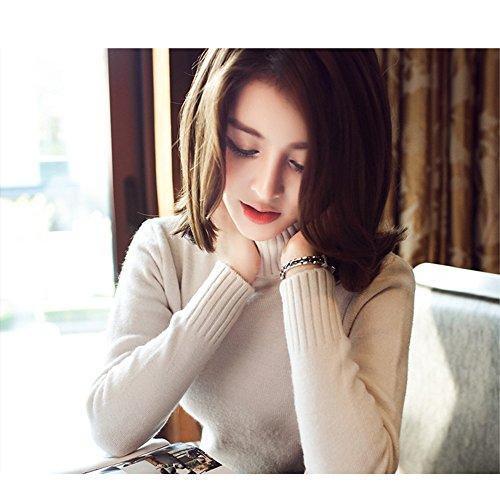 Maglioni Tumblr alto Germinate collo Beige Dolcevita Donna Invernali Vintage Maglieria Elegante OPUUdxWSn