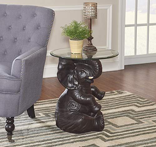 Powell's Furniture 162001 Ernie Elephant, Dark Brown Accent Table, ()