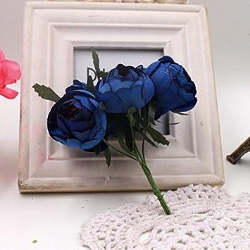 Jiale3536 Fleurs Artificielles 6pcs Gros Bouton De Rose En Soie