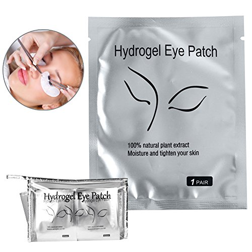 110 Pairs Under Eye Eyelash Extension Gel Patches Kit, Lint Free Eye Mask Pads Lash Extension Beauty Tool with Transparent Cosmetic Bag, Thick Style