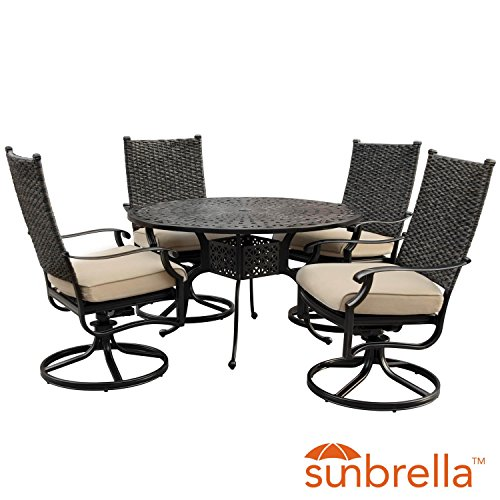 Lakeview Outdoor Designs Carondelet 5 Piece Wicker Patio Dining Set W/48-inch Round Patio Dining Table, Swivel Rockers & Sunbrella Spectrum Sand Cushions By (Rocker Chair Banana)