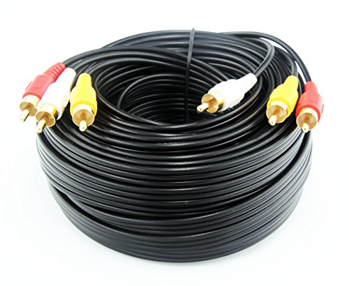 50FT/15M RCA M/Mx3 Audio/Video Cable Gold Plated - Audio Video RCA Stereo Cable 50FT